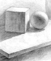 Шар и куб (рисунок штрихом)