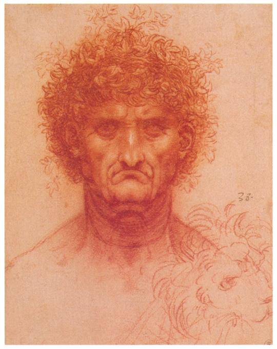 Пожилой человек (Бахус?) и голова льва