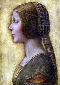 Портрет молодой девушки в профиль в платье эпохи Возрождения