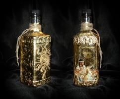 Бутыли, декорированные с помощью мордана